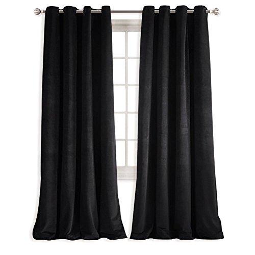 Velvet Eyelet - NICETOWN Patio Blackout Velvet Curtain Panels - Energy efficient Velvet Woven Home Theater Eyelet Top Drapes(1 Pair, W52xL96-inch, Almond Jet Black)