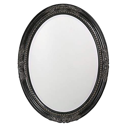 Howard Elliott Queen Ann Oval Hanging Wall Mirror, Beveled, Vanity, Antique Black, - Mirrors Decorative Bathroom Black