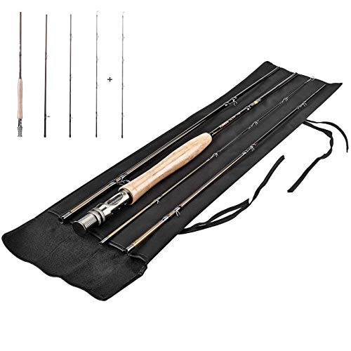 PLUSINNO Lightweight Ultra Portable Fly Fishing Rod and Reel Graphite Pole with Toray Carbon Fiber Blanks and Chromed Stainless Steel Snake Guides 4-Piece with Rod Case (5-6#) (Fly Fishing Rod Gold)… (Rod Piece Case)