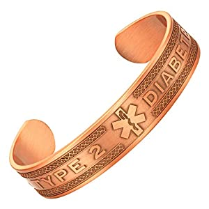 Agneti Type 2 Diabetes Pure Copper Medical Alert ID Bangle Bracelet for Men and Women with Free Medical Card