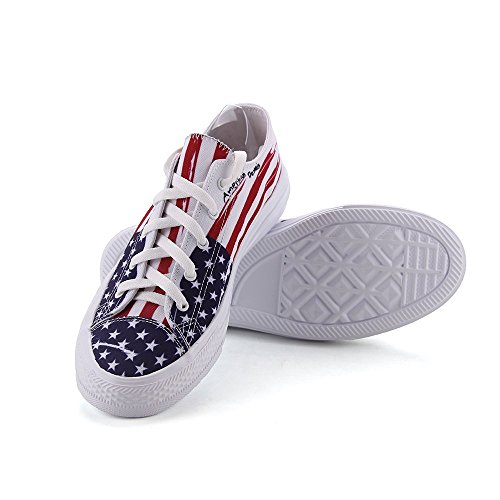 FIRST DANCE Unisex Canvas Shoes American Flag Print Sneaker Lace-up Low Top Lightweight Vxim3w