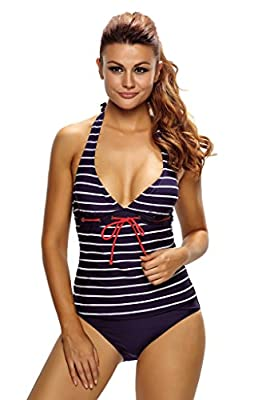 Aleumdr Womens Plunge V Neck Halter Backless Striped Tankini Top Swimsuit with Briefs