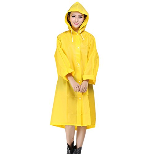 Womens/Girls Packable Lightweight Transparent EVA Rain Jacket Poncho Raincoat with Hood (S, yellow) - Yellow Kids Poncho