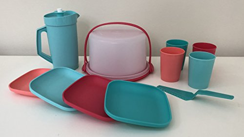Tupperware 11 Piece Mini Party Set for Children - Mini Handled Cake Taker with Pastry Server, 4 Cups, 4 Plates & Push-Button Pitcher - All Miniature - Big Fun for Little Ones!
