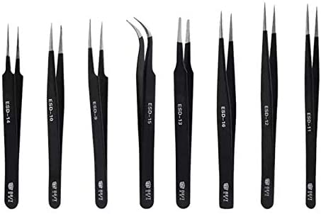 Deluxe Cell Phone Repair Tool Kits Multifunction BST-16 Precision Anti-Static ESD Stainless Steel Tweezers Repair Kits