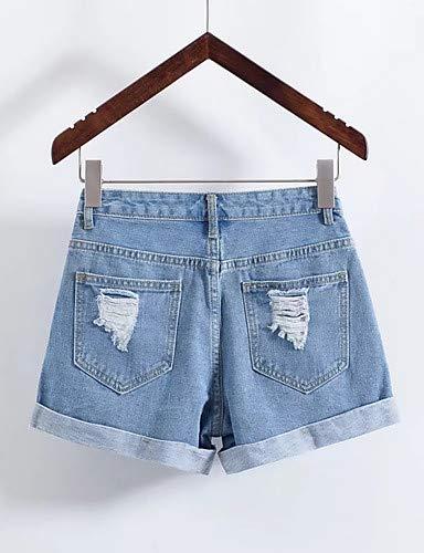 Alta Unita Da uscire Tinta Yfltz Slim Blue Vita Pantaloni Donna xCH4qw