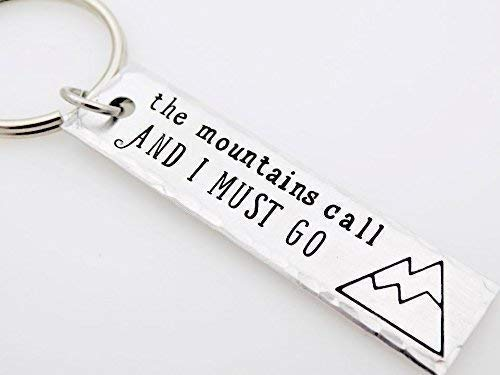 Mountain's Call Handstamped Aluminum Bar keychain