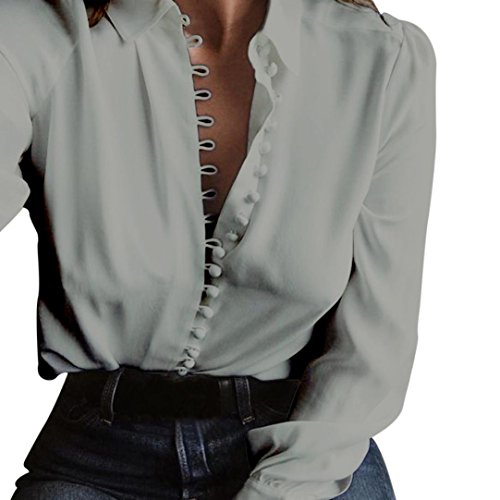 Anxinke Women's Solid Long Sleeve Shirt Tops Button-down Blouse (S, Grey) by Anxinke