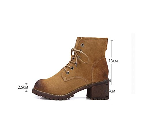 Retro Lace Up Women Boots Scrubs Leather Chunky heels Short tube Ankle Bootie BROWN-35 h75Lt1Sz7