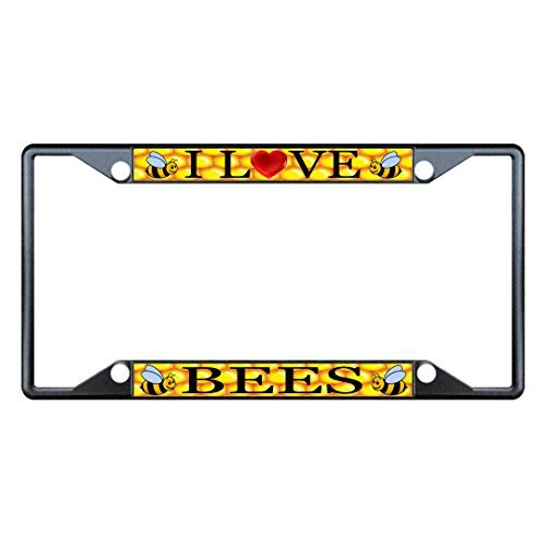 Saniwa License Plate Covers I Love Bees Animal Black License Plate Frame Tag Holder Four (Little Earth License Plate Purse)