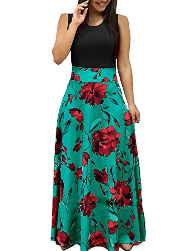 Aublary Womens Long Sleeve Maxi Dress Round Neck Floral Print Casual Tunic Long Maxi Dress (S, Green-Sleeveless) ()
