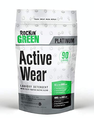 Rockin' Green Platinum Series Active Wear Laundry Detergent Powder, 45 oz. - All Natural, Biodegradable, and Eco-Friendly (Best Laundry Detergent For Sweat Stains)