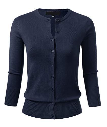 Allsense Women's Button Down 3/4 Sleeve Crew Neck Knit Cardigan Sweater 1XL Navy