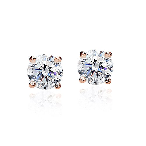 Rose Gold Flashed Sterling Silver 2ct Round Solitaire Stud Earrings set with Swarovski Zirconia