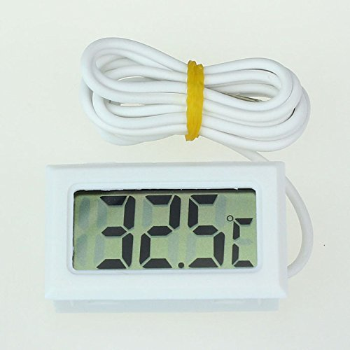 Indoor Outdoor Digital Large Display Temperature Monitor Multifunctional Weather Station,LCD High Temperature Thermometer With Probe Celsius,Weather Thermometers for Home, Car, Office (White)