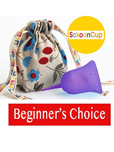 SckoonCup BEGINNER CHOICE - Made in the USA - FDA Approved - Heavy Flow - Organic Cotton Pouch -...