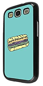 1063 - cool fun doodle food sub sandwich food lover junk food take away Design For Samsung Galaxy S3 i9300 Fashion Trend CASE Back COVER Plastic&Thin Metal - Black
