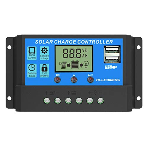 Solar Control - ALLPOWERS 20A Solar Charger Controller Solar Panel Battery Intelligent Regulator with USB Port Display 12V/24V