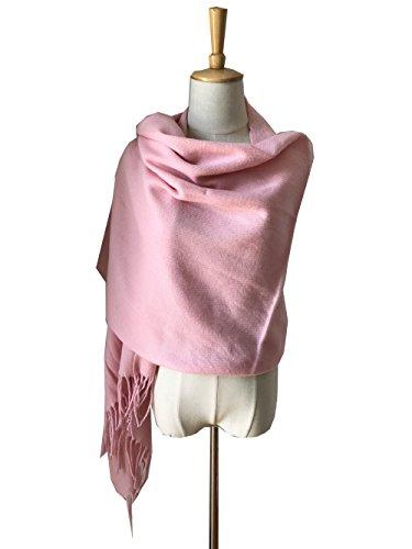 - JOSENI Solid Color Pashmina Blanket Scarf Large Winter Wrap Shawl for Women Men (Pink)