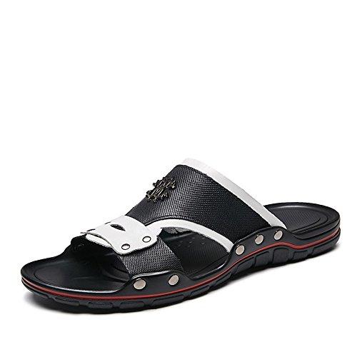 scivolo borchie da Sandali con Bianca 44 Toe vera Casual 2018 Rosso Dimensione Sandali Xujw uomo in larga Uomo Beach fascia Peep da shoes da pelle EU Slipper a Color xC1w0B