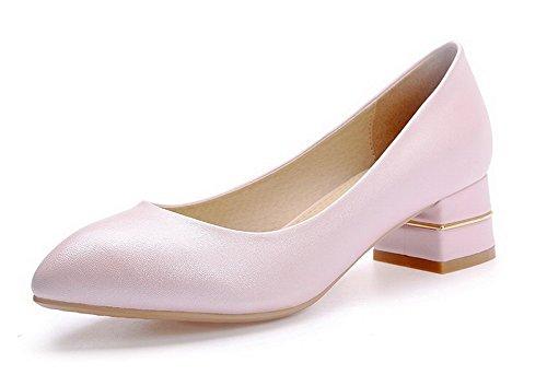 VogueZone009 Damen Weiches Material Ziehen auf Rund Zehe Niedriger Absatz Pumps Schuhe, Pink, 35