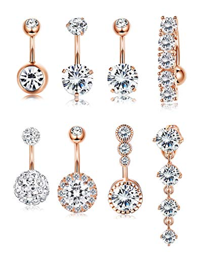 Yadoca 14G 8 Pcs Stainless Steel Belly Button Rings for Women Girls Body Curved Barbell Dangle Body Piercing Set Navel Bar Rings CZ Silver-Tone Rose Gold