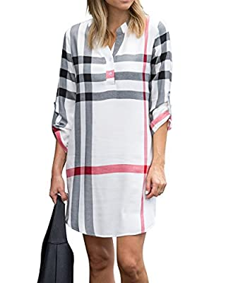 Nailyhome Women Plaid V Neck Roll Up Sleeve Long Blouse High Low Mini Shirt Dress