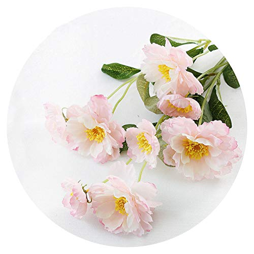- 1 Branch 6 Colors DIY Artificial Flowers Rosemary Two Head Silk Flower Fake Plant for Wedding Home Party Decoration,Pink