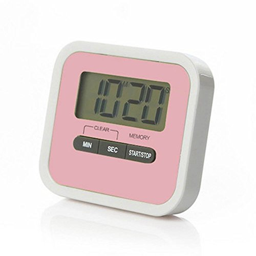 - LRZCGB Digital Kitchen Timer,Magnetic Clip and Stand Timer Clock, Large LCD Display Multi-Function Electronic Timer (Pink)