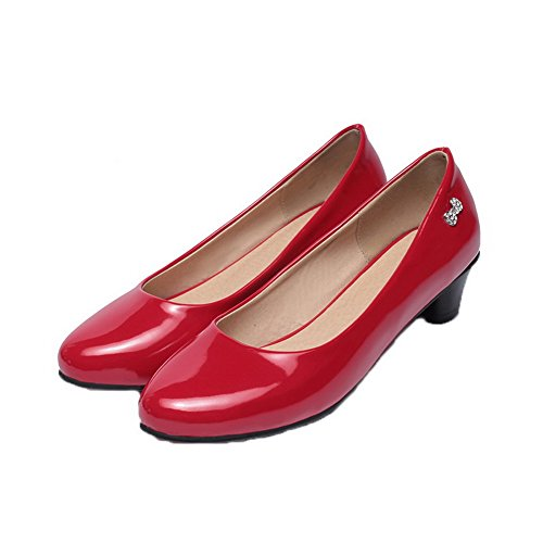 Heels Pull Pumps Red Shoes Leather Round Low Toe Womens On AmoonyFashion Patent PqwznI60