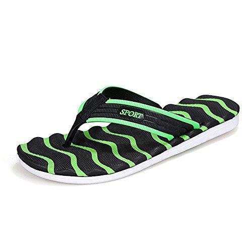 Verano Nuevo patrón de moda de gran tamaño Tendencia de playa de ocio flip-flops explosión, negro y verde, Reino Unido = 9,5, EU = 44