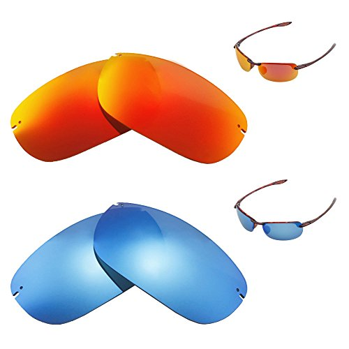 Walleva Polarized Fire Red + Ice Blue Replacement Lenses For Maui Jim Makaha - Sunglasses Makaha
