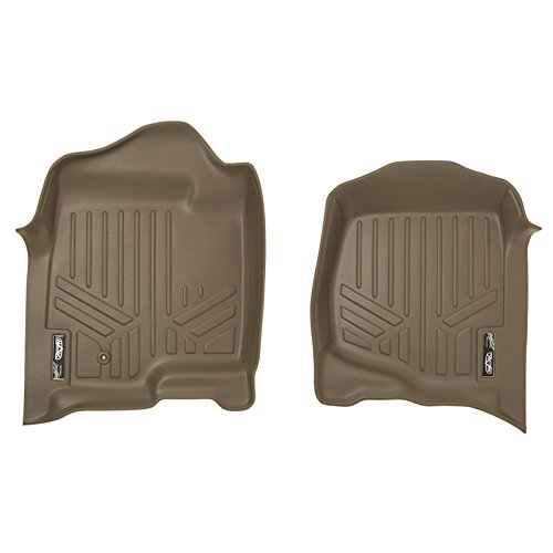 SMARTLINER Floor Mats 1st Row Liner Set Tan for 2007-2013 Silverado/Sierra-Avalanche - 2007-2014 Tahoe-Suburban-Yukon-Yukon XL-Escalade 2007 Tan 1st Row