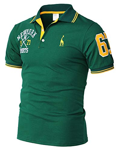 H2H Mens Casual Slim Fit Polo T-Shirts Basic Designed with Giraffe Embroidery Green US 2XL/Asia 5XL (KMTTS599)
