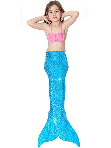 Children's Brazilian Costumes (Lonchee Girl's 3pcs Mermaid Tail Swimmable Princess Bikini Set Costume Swimsuit Can Match Monofin for Swimming cospay)