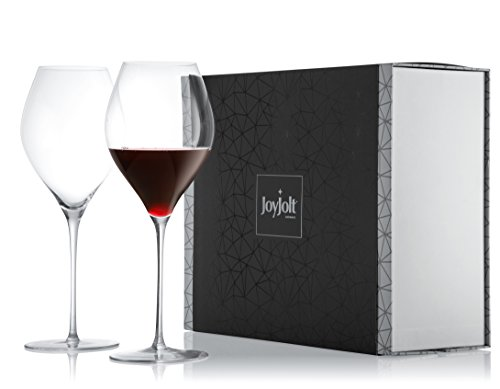 JoyJolt Layla Crystal Red Wine Glasses Set, 30.7 Ounce Crystal Glass, Set of 2 Long Stemmed Wine Glass, Great For White Or Red Wine, 100% Lead Free Wine Glassware, Great For Testing Wine.