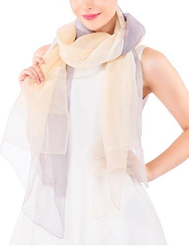 Ideal Gift for Women Wool Silk Scarf Lightweight Evening Wrap Wedding Sheer Gift Box (Beige (Beige Extra Light)