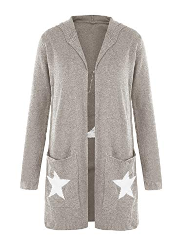 Ofenbuy Womens Cardigans Chunky Open Front Long Sleeve Star Knit Sweater Hooded Cardigan