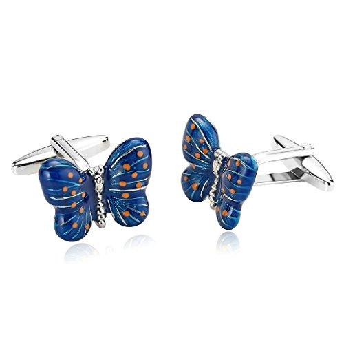 MoAndy Women Cufflinks Stainless Steel Butterfly Blue Cufflinks For (Duke Blue Devils Cufflinks)