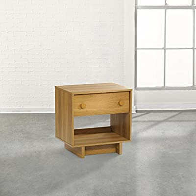 Sauder Soft Modern Night Stand Pale in Oak Finish - Drawer with metal runners and safety stops features patented T-lock assembly system Open shelf provides additional storage Finished on all sides for versatile placement - nightstands, bedroom-furniture, bedroom - 41ge6%2BsSf L. SS400  -