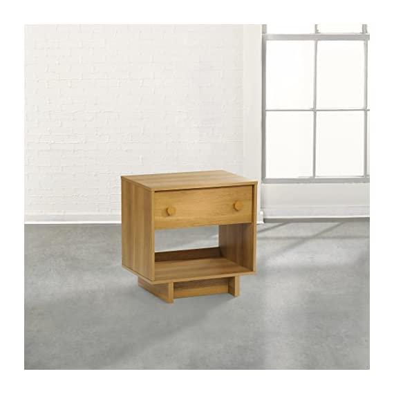 Sauder Soft Modern Night Stand Pale in Oak Finish - Drawer with metal runners and safety stops features patented T-lock assembly system Open shelf provides additional storage Finished on all sides for versatile placement - nightstands, bedroom-furniture, bedroom - 41ge6%2BsSf L. SS570  -