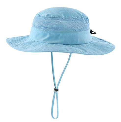 Connectyle Unisex Child Kids UPF 50+ UV Sun Protection Hat Adjustable Wide Brim Bucket Sun Hats Aqua Blue