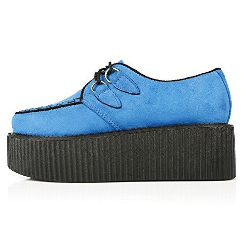 Handmade Shoe Creepers Blue Suede Women's Up RoseG Flat Platform Lace B5Hq0