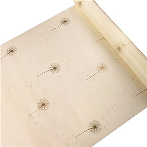 HOYOYO 17x78 Inches Self-Adhesive Contact Paper, PVC Moisture Proof Drawer Paper Shelf Liner Mildew Proof Antifouling Wall Sticket, Beige Dandelion (Paper Liner Wall)