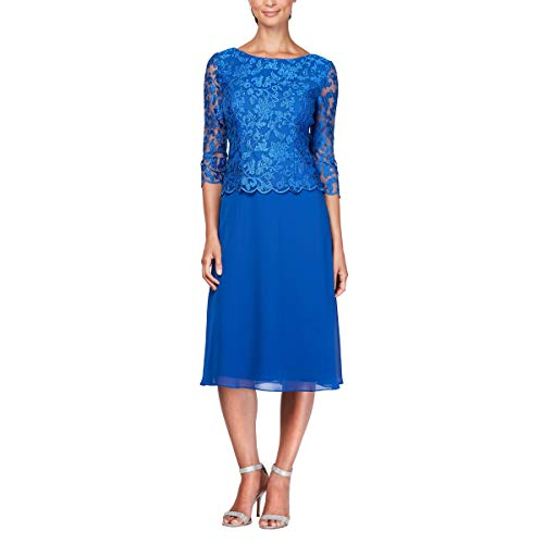 Alex Evenings Women's Sequin Lace Mock Dress (Petite and Regular), Royal ()