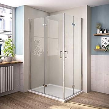 Cabina de ducha con puerta corredera, puerta doble plegable 180o, puerta oscilante, puerta de esquina, mampara de ducha con cristal de seguridad de 6 mm, puerta de ducha plegable (altura: 1950 mm):
