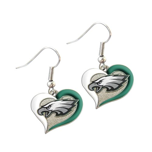 aminco Philadelphia Eagles Sports Team Logo Swirl Heart Shape French Hook Charm Dangle Earring Set