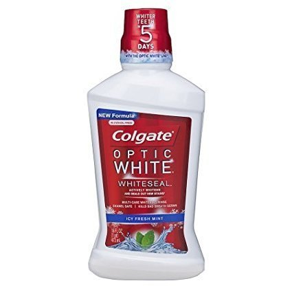Colgate Optic White Whiteseal Mouthwash, Alcohol-free Icy Fresh Mint 16 0z (2 Pack)