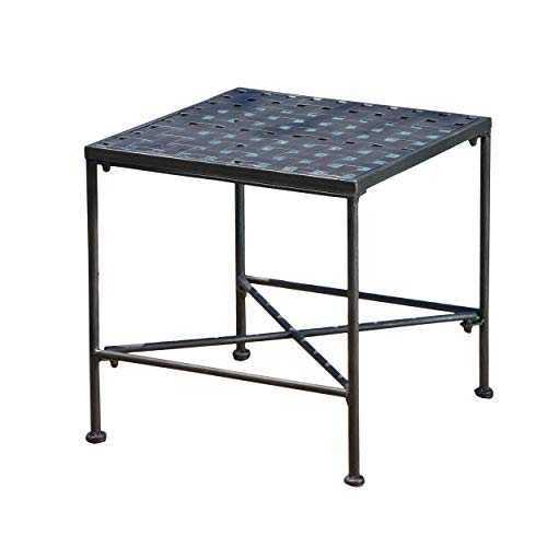 (Great Deal Furniture 296745 Kent Outdoor Black Iron End Table, Brushed Silver)
