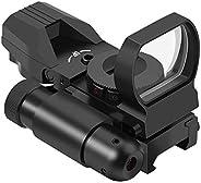 Feyachi RSL-18 Reflex Sight - 4 Reticle Red & Green Dot Sight Optics with Integrated Red La-ser Sight Less